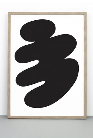 ABSTRACT BODY PRINT, A BLACK AND WHITE ILLUSTRATIVE POSTER