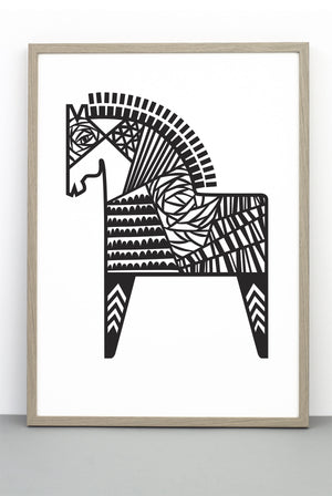DALA HORSE PRINT, AN ILLUSTRATIVE BLACK AND WHITE MONOCHROME POSTER