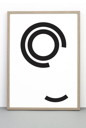 DISTURBED CIRCLES PRINT, A BOLD BLACK AND WHITE MONOCHROME POSTER