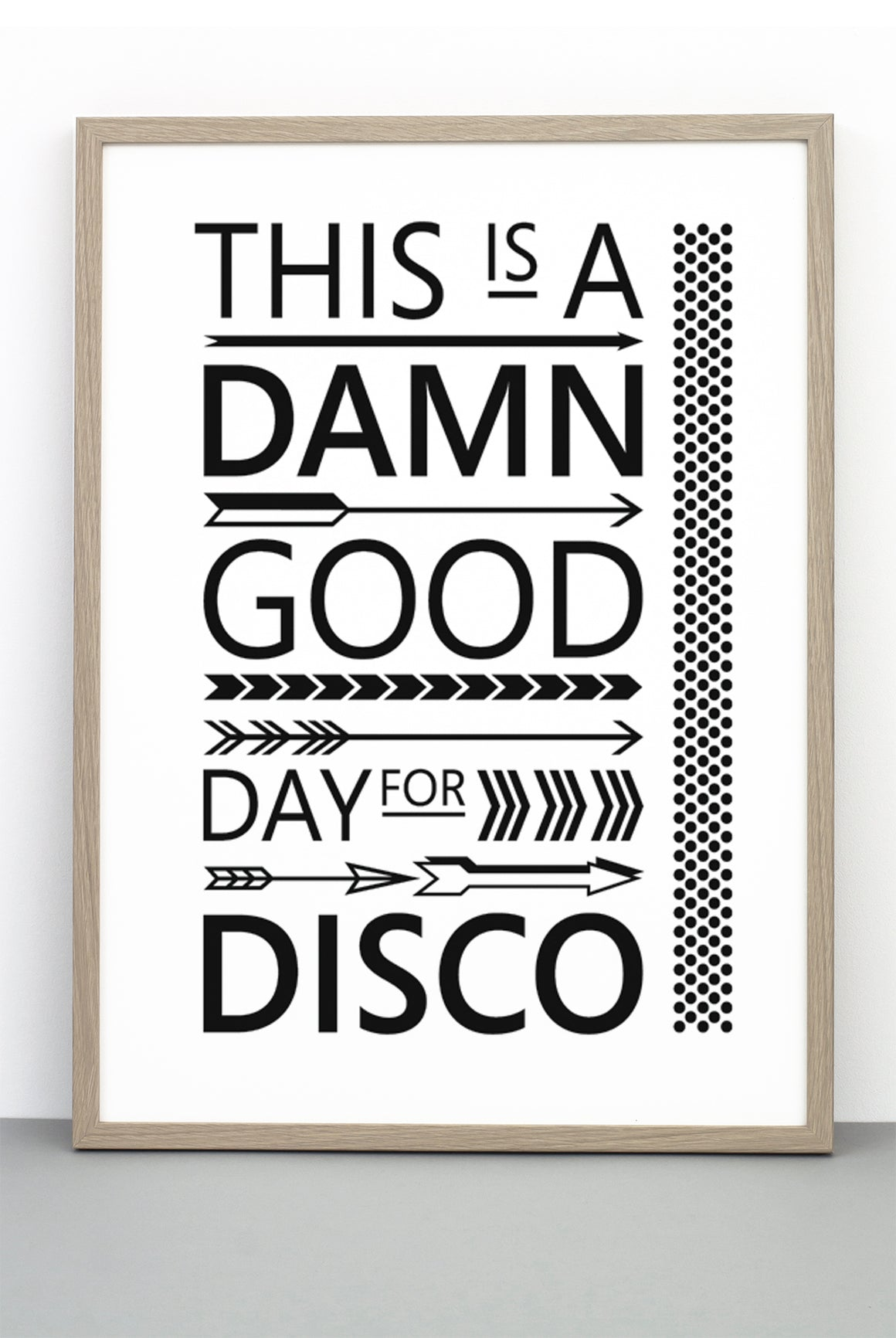 FLASHDANCE PRINT, A TYPOGRAPHIC BLACK AND WHITE HAPPY POSTER