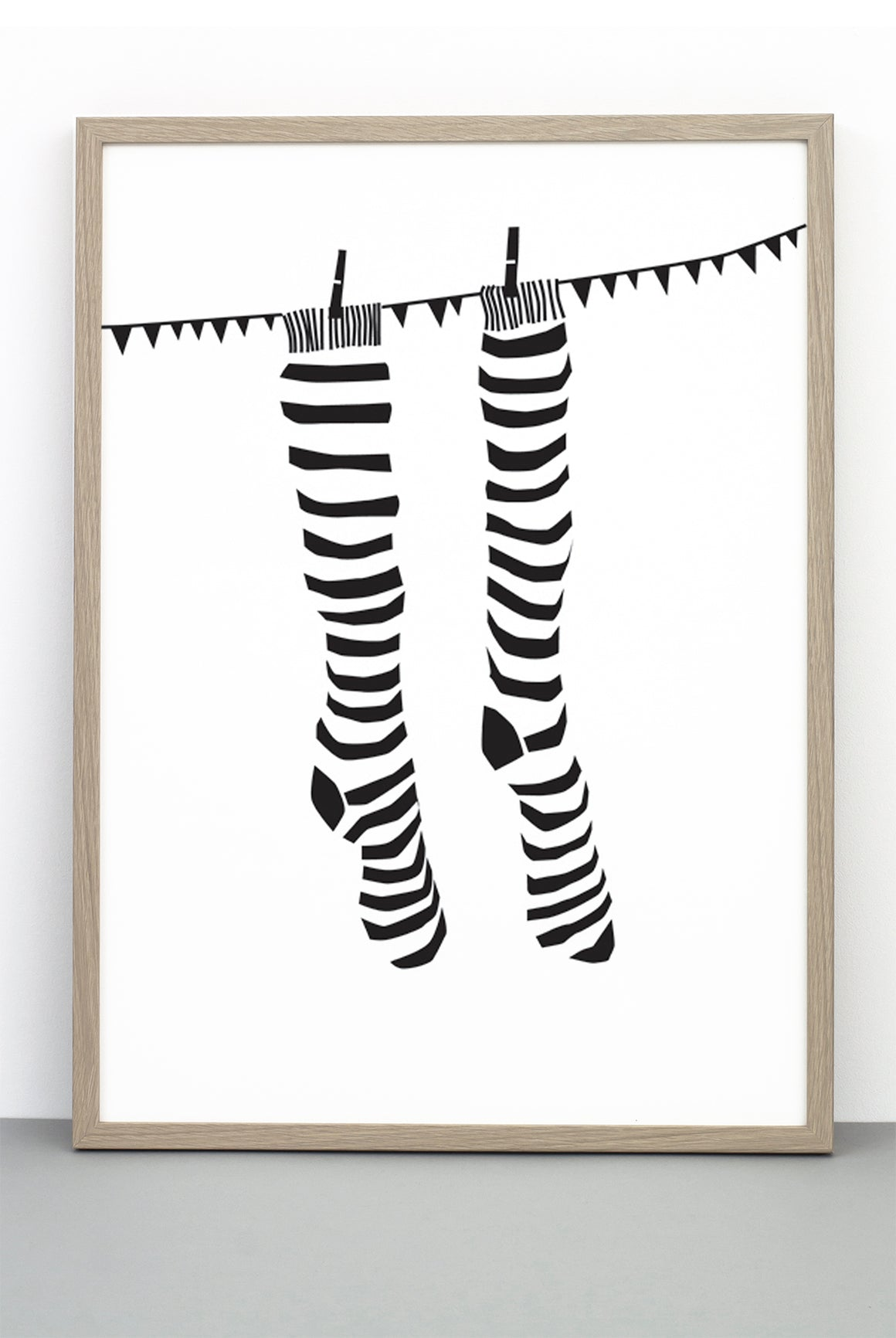 KNOCK YOUR SOCKS OFF PRINT, AN ILLUSTRATIVE BLACK AND WHITE MONOCHROME POSTER