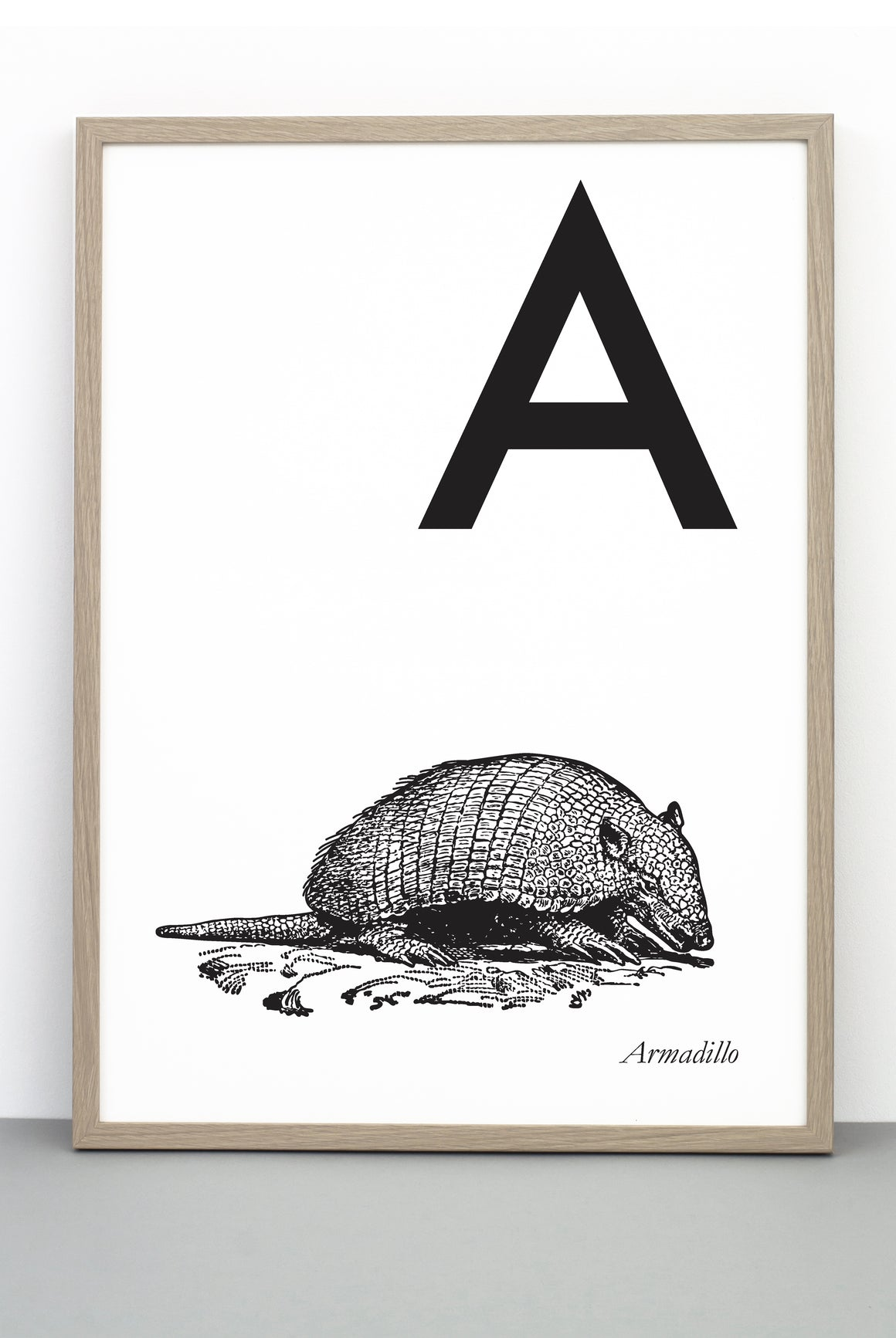 ANIMAL LETTER A, ARMADILLO, A PRINTABLE PRINT / POSTER