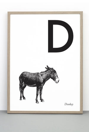 ANIMAL LETTER D, DONKEY, D DOWNLOADABLE PRINT