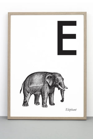 ANIMAL LETTER E, ELEPHANT, E DOWNLOADABLE PRINT