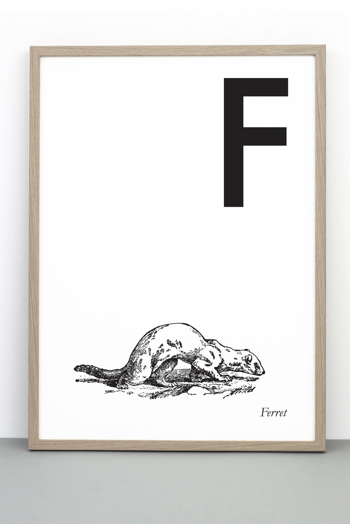 ANIMAL LETTER F, FERRET, F DOWNLOADABLE PRINT