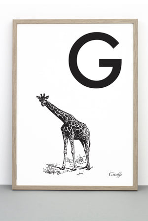 ANIMAL LETTER G, GIRAFFE, G DOWNLOADABLE PRINT