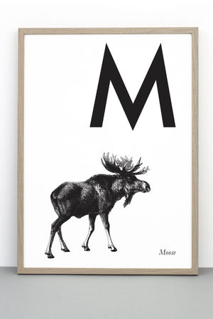 ANIMAL LETTER M, MOOSE, M DOWNLOADABLE PRINT