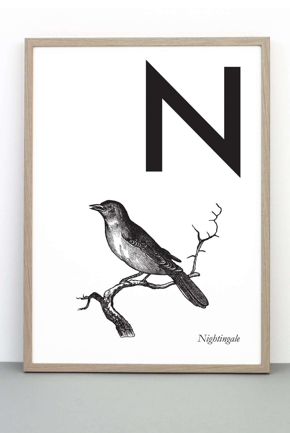 ANIMAL LETTER N, NIGHTINGALE, N DOWNLOADABLE PRINT
