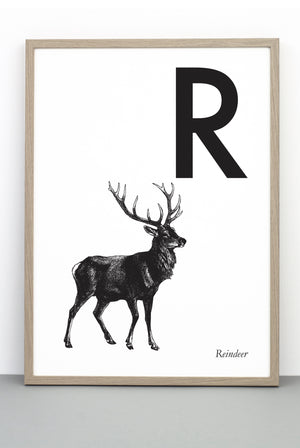 ANIMAL LETTER R, REINDEER, R DOWNLOADABLE PRINT