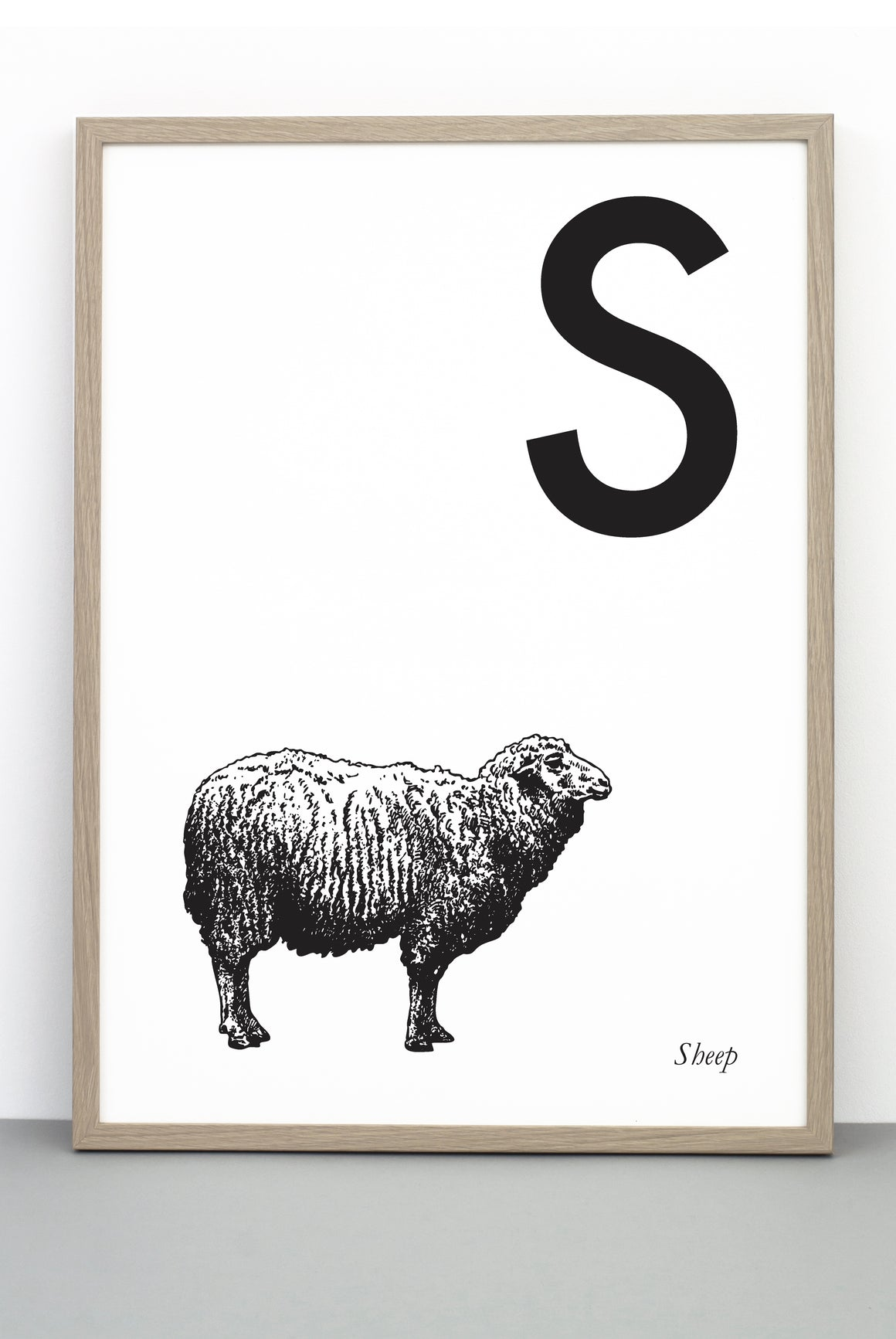 ANIMAL LETTER S, SHEEP, S DOWNLOADABLE PRINT