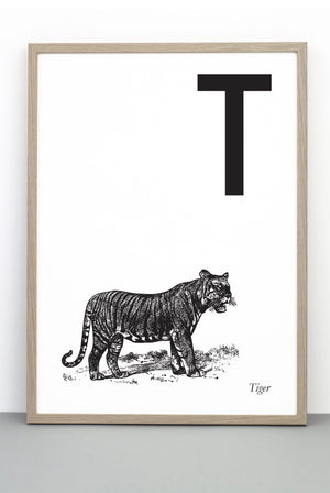 ANIMAL LETTER T, TIGER, T DOWNLOADABLE PRINT
