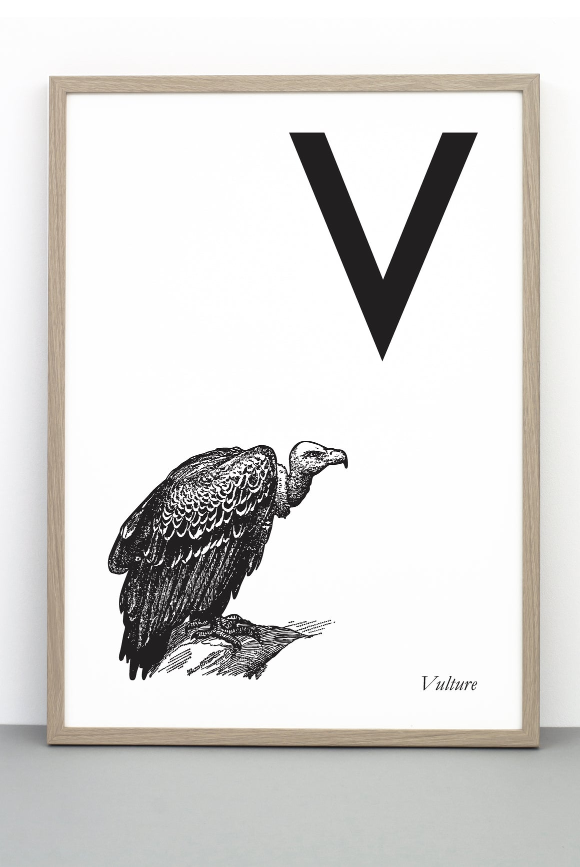 ANIMAL LETTER V, VULTURE, V DOWNLOADABLE PRINT