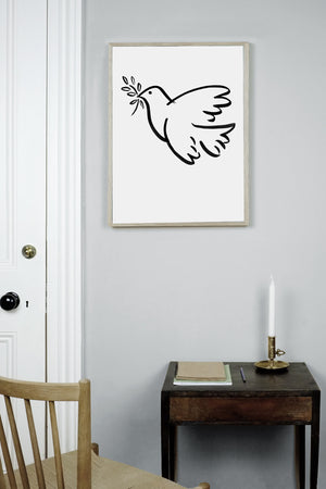 WHOLESALE PEACE DOVE PRINT,  AN ILLUSTRATIVE BLACK AND WHITE MONOCHROME POSTER