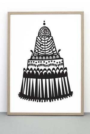 WHOLESALE MOUNT TREAT CAKE PRINT, A BLACK AND WHITE ILLUSTRATIVE POSTER