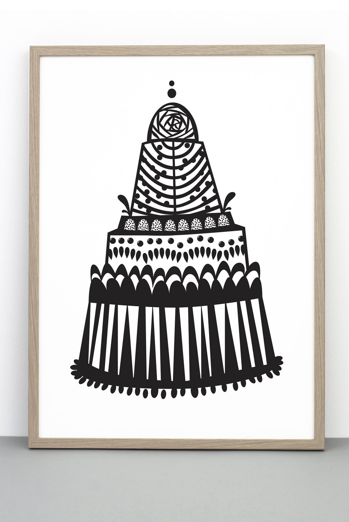 A MOUNT TREAT CAKE PRINT, A BLACK AND WHITE ILLUSTRATIVE POSTER