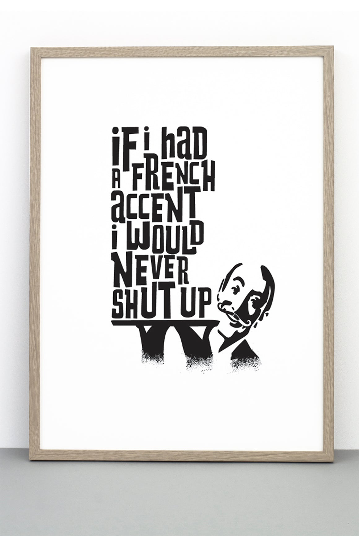 OH LA LA PRINT, A TYPOGRAPHIC BLACK AND WHITE FUN MONOCHROME POSTER