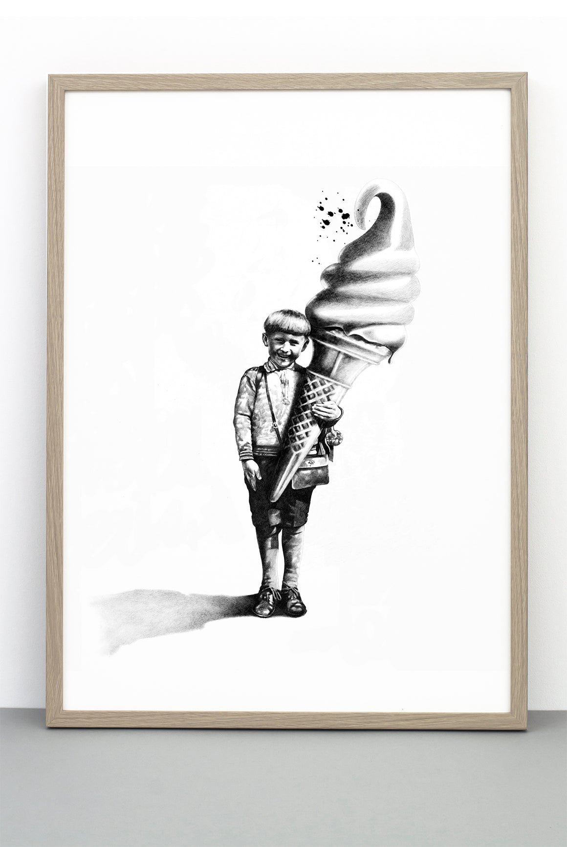 PLEASED AS PUNCH PRINT, AN ILLUSTRATIVE BLACK AND WHITE POSTER OF A BOY AND HIS ICE CREAM
