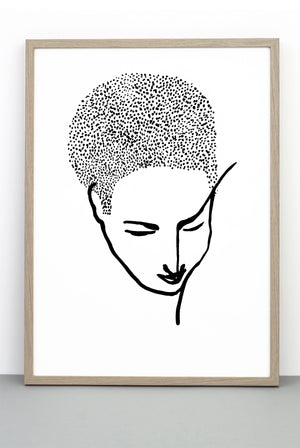 PORTRAIT PRINT 1, A BLACK AND WHITE FACE POSTER