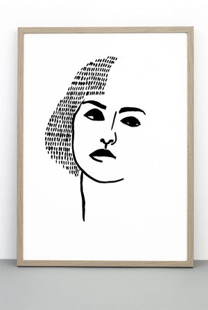 WHOLESALE PORTRAIT PRINT 3, A BLACK AND WHITE FACE POSTER