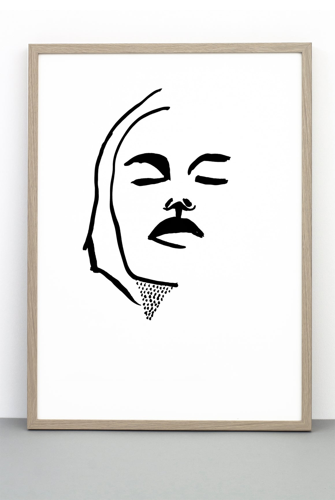 PORTRAIT PRINT 2, A BLACK AND WHITE FACE POSTER