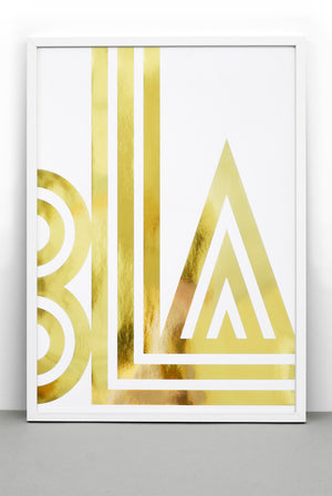 GOLD FOIL SMALL TALK / BLA PRINT, BOLD TYPOGRAPHIC POSTER