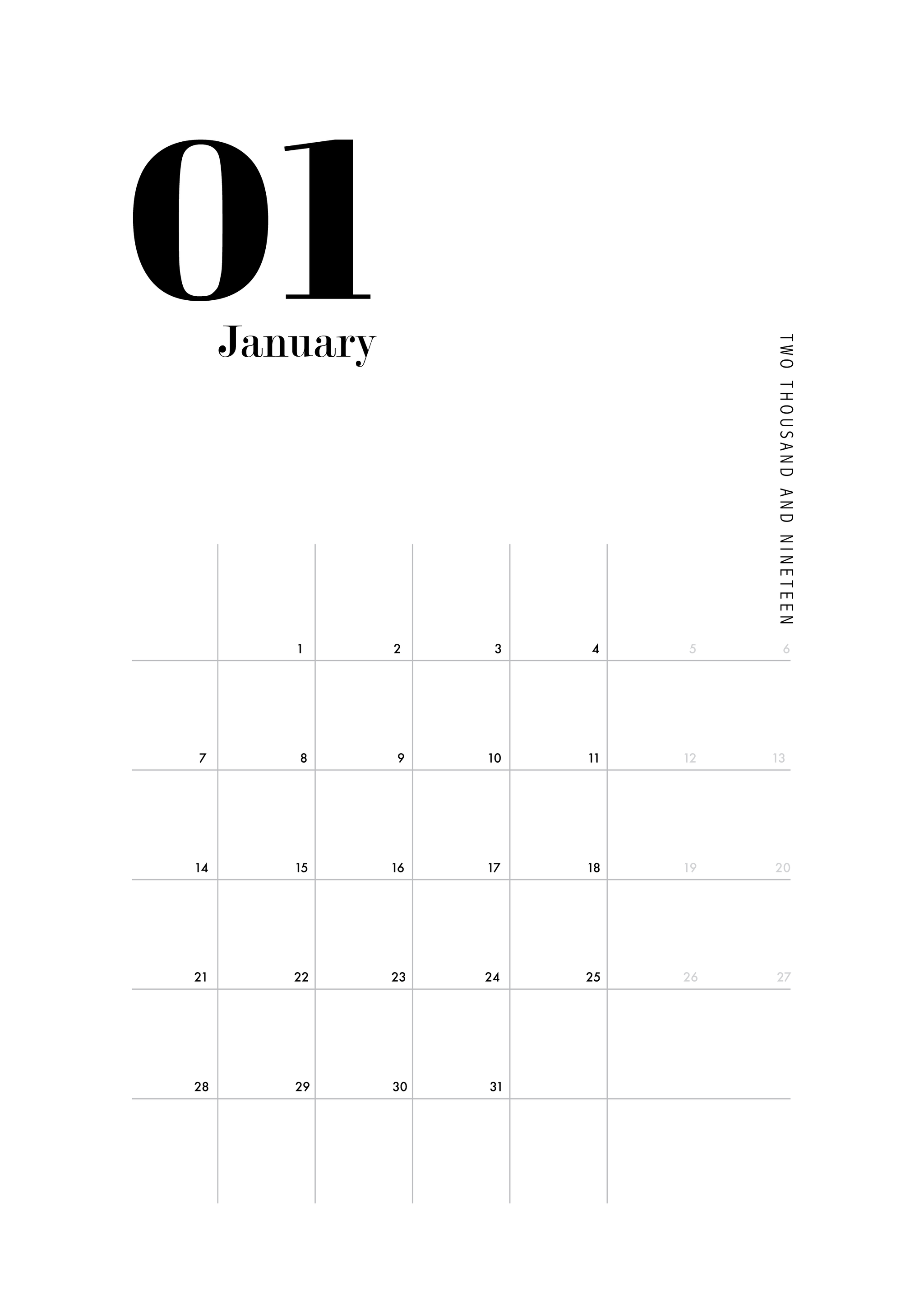image about Printable Calendar Numbers titled PRINTABLE CALENDAR clic figures, minimalistic, printable, A4 downloadable, Jan- Dec, Scandinavian layout, typography, yr planner, black and white