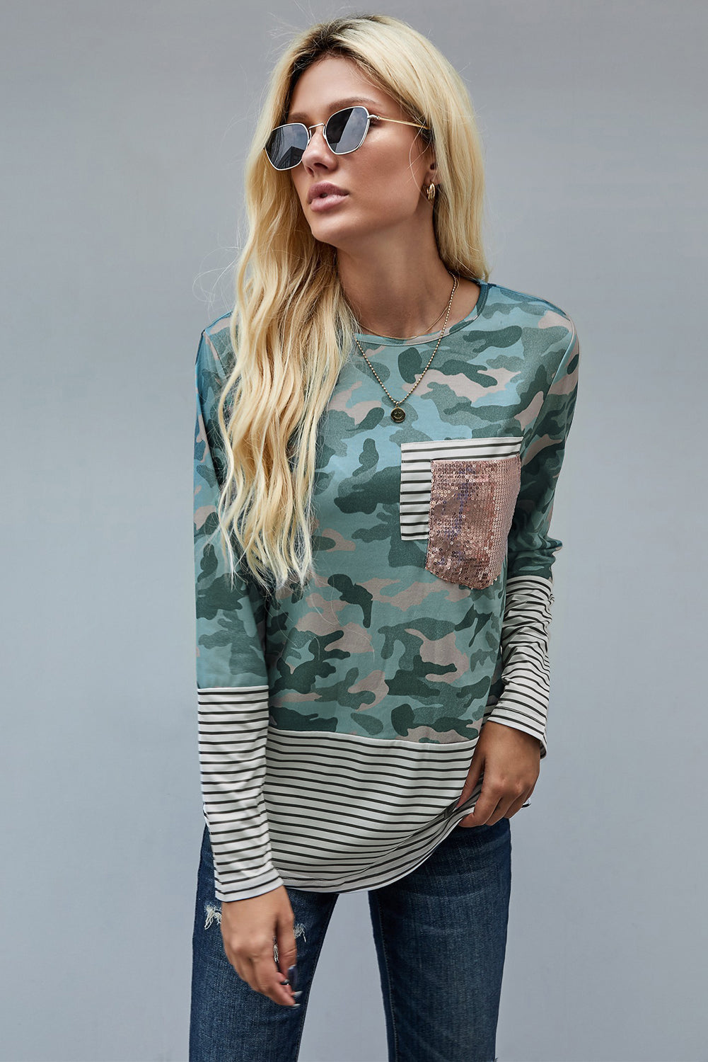 Camo Striped Sequin Pocket Long Sleeve