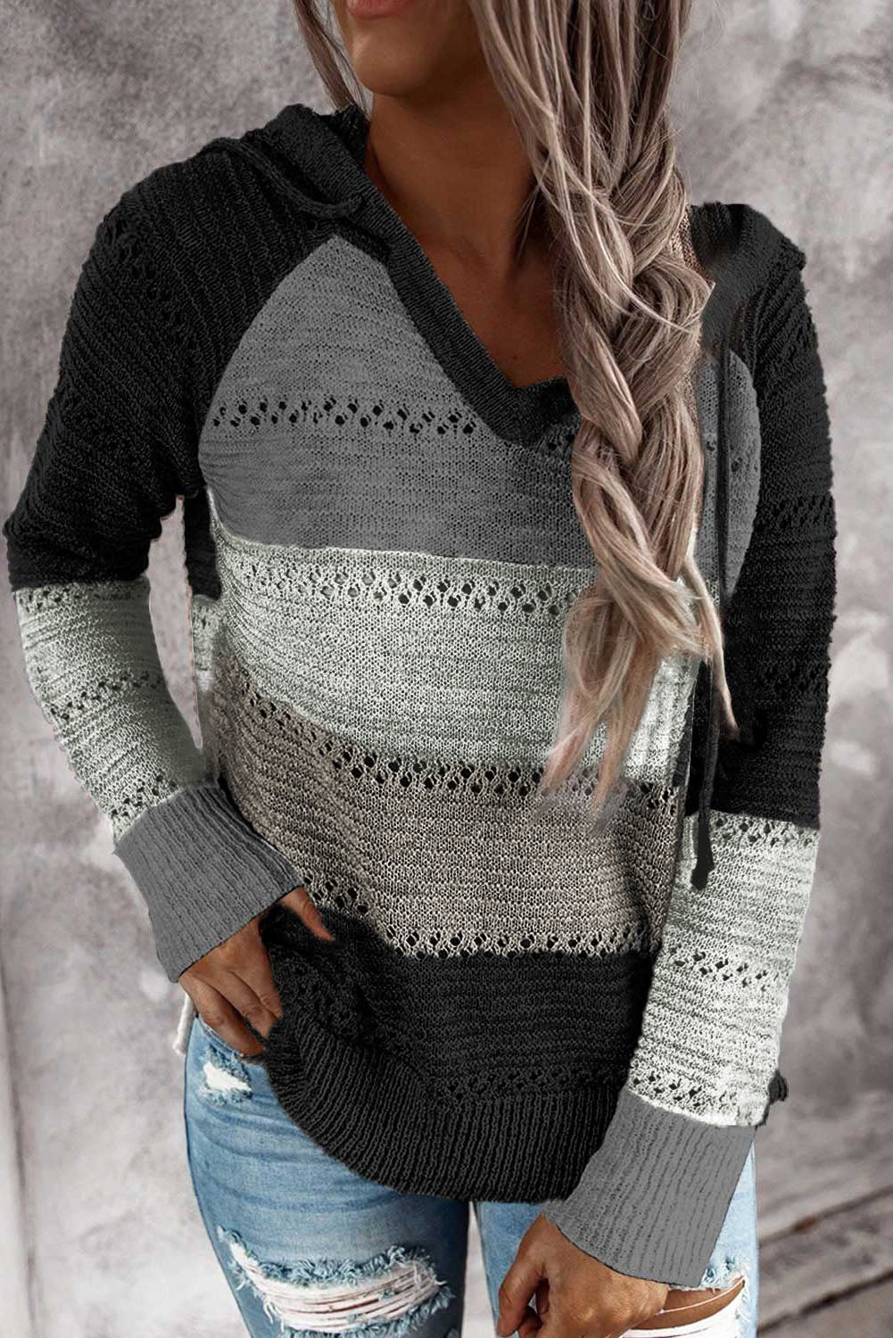 Gray Colorblock Knit Hoodie
