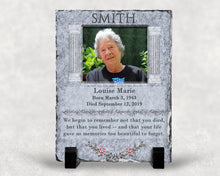 Load image into Gallery viewer, Memorial Slate Plaque Personalized Photo Gift Sympathy Gift Grandpa Grandma Mom Dad