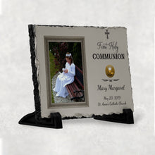 Load image into Gallery viewer, First Communion Slate Plaque Personalize Customize