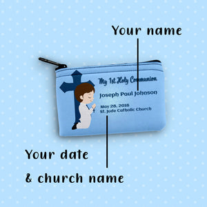 Rosary Pouch, Personalized, Custom, FREE SHIPPING 1st reconciliation 1st communion Boy