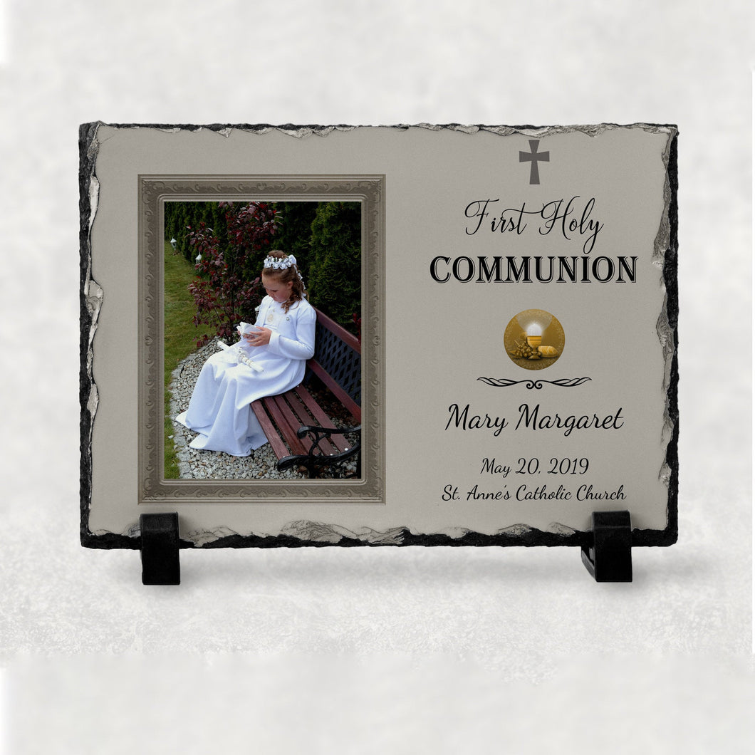 First Communion Slate Plaque Personalize Customize