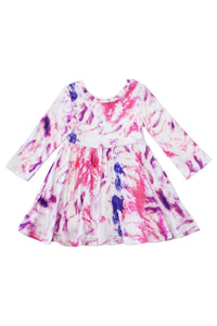 Pink Twirl Tie Dye Dress - Kids