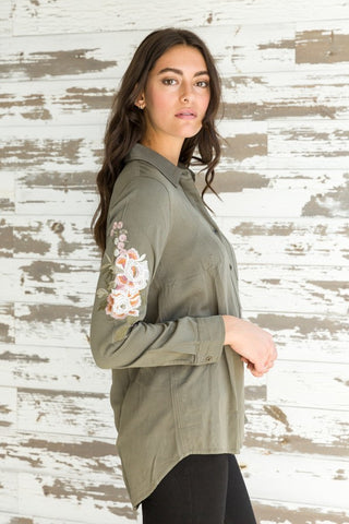 Olive Button Down Shirt with Embroidery
