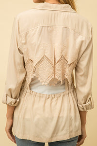 Open Back Lace Detail Jacket