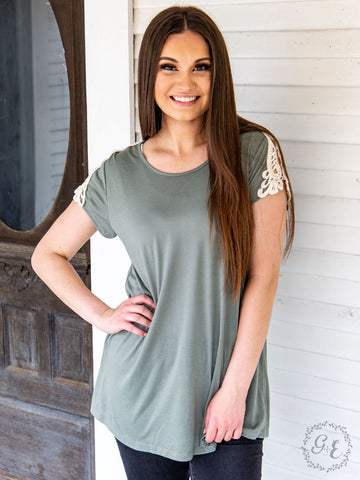 Addie's Crochet Shoulder Tee Olive