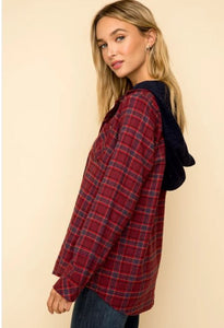Wine Flannel Button Down Two-Fer