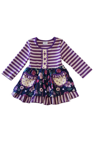 Purple Floral Ruffle Dress - Kids
