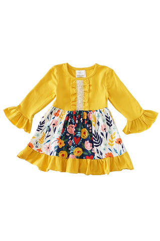 Floral Mustard Ruffle Dress Kids