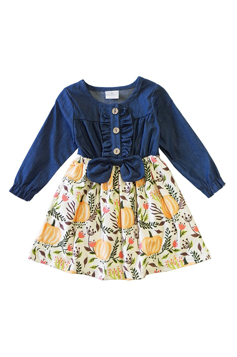 Denim & Pumpkin Kid's Dress