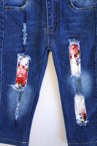 Distressed Floral Kids Jeans