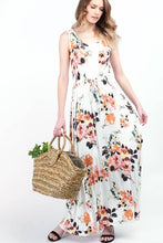 Load image into Gallery viewer, Floral Drawstring Maxi Dress