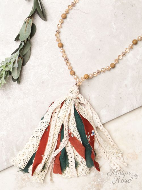 Rust and Green Tassel on Bead Necklace