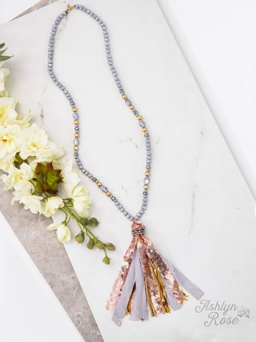 The Perfect Tassel Necklace in Grey/Rosegold