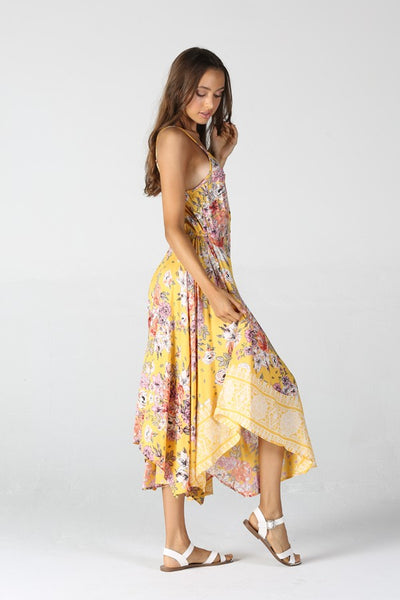 Scarf Hem Button Front Midi Floral Dress