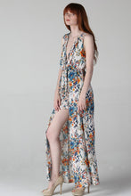 Load image into Gallery viewer, V-Neck Dual Print Maxi Romper