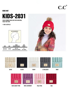CC Beanie *KIDS* Cable with Pom **PRE_ORDER**