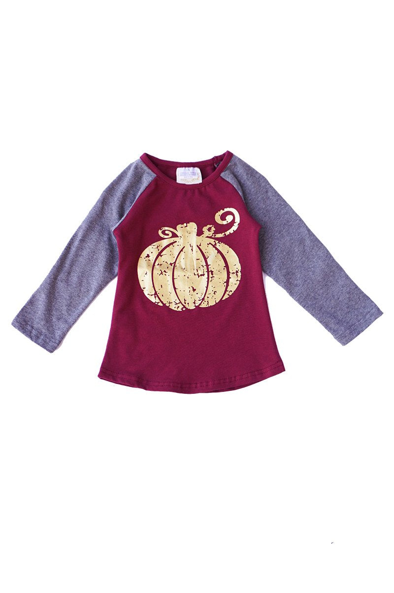 Pumpkin Metallic Top w/ Elbow Patches - Kids