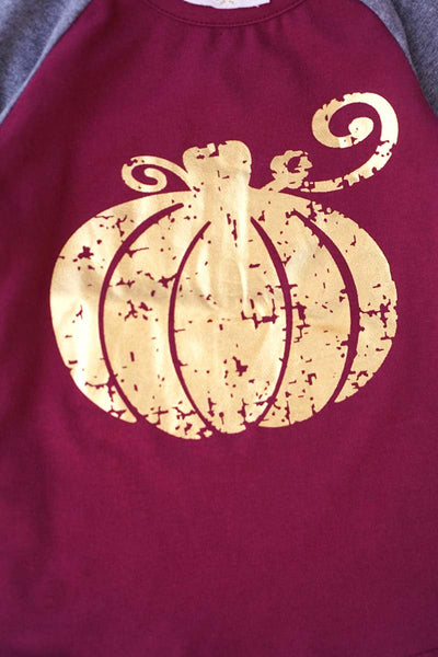 Pumkin Metallic Top w/ Elbow Patches - Kids