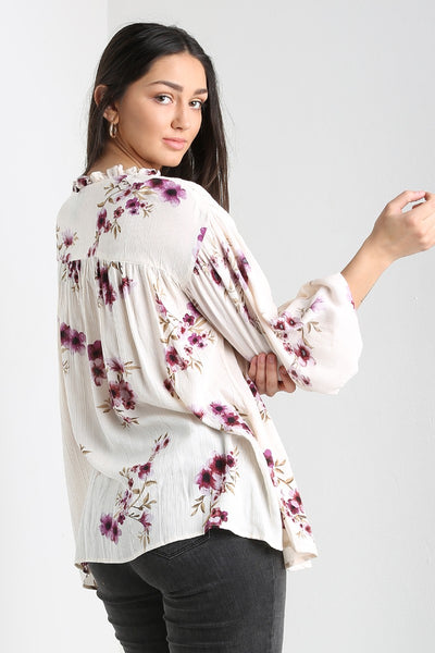White Printed Blouse w/ Tassels
